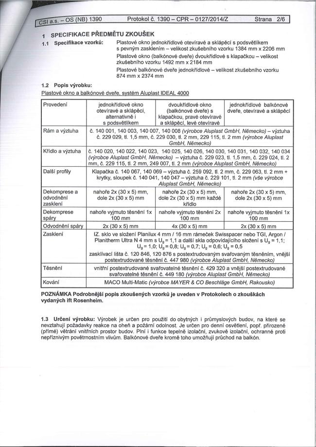 Plastové okno protokol CSI