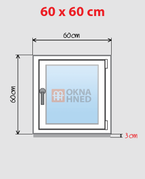 Rozměry okna 60 x 60 cm včetně podkladního profilu