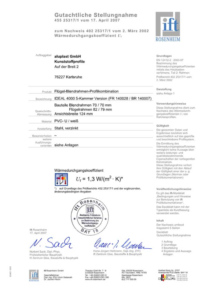 Plastové okno certifikát