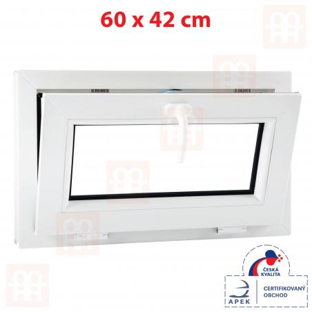 Plastové okno | 60x42 cm (600x420 mm) | bílé | sklopné | 6 komor