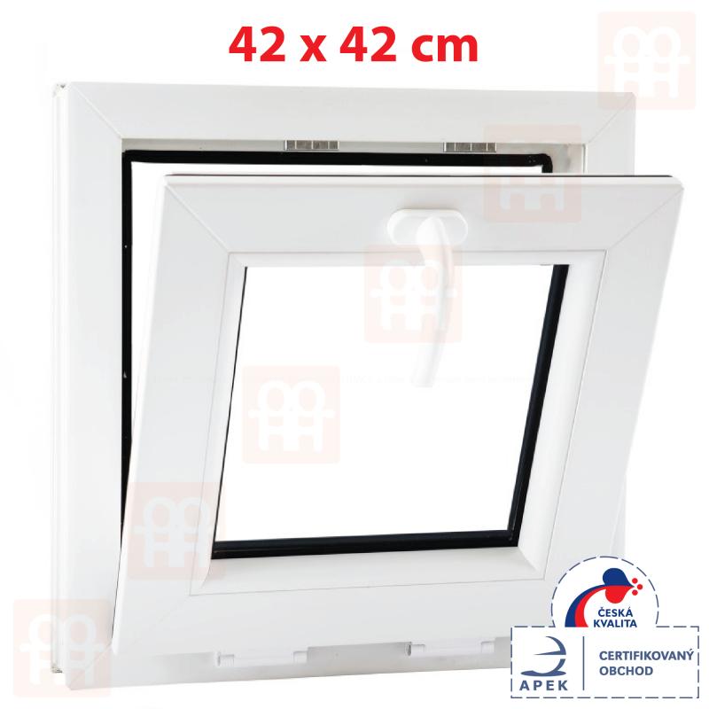 Sklopné plastové okno 42x42 cm, bílé, 6 komor