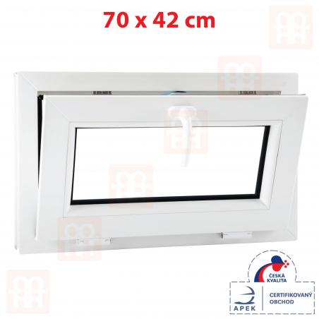 Plastové okno | 70x42 cm (700x420 mm) | bílé | sklopné | 6 komor