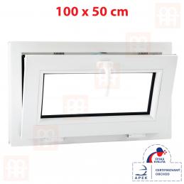Sklopné plastové okno 100x50 cm, bílé, 6 komor Aluplast