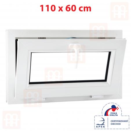 Plastové okno | 110x60 cm (1100x600 mm) | bílé | sklopné | 6 komor