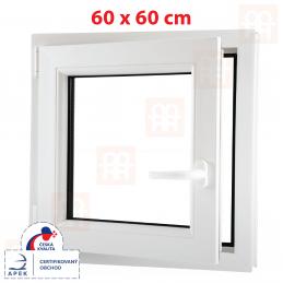 Plastové okno 60x60 cm, bílé, otevíravé i sklopné, levé, 6 komor Aluplast