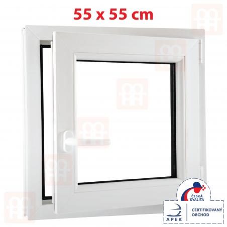 Plastové okno | 55 x 55 cm (550 x 550 mm) | bílé | otevíravé i sklopné | pravé | 6 komor