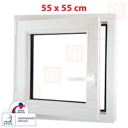 Plastové okno | 55x55 cm (550x550 mm) | bílé | otevíravé i sklopné | levé | 6 komor