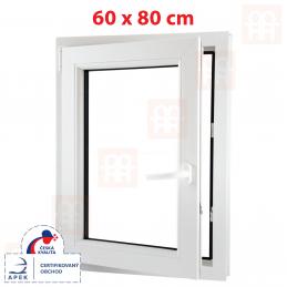 Plastové okno 60x80 cm, bílé, otevíravé i sklopné, levé, 6 komor Aluplast