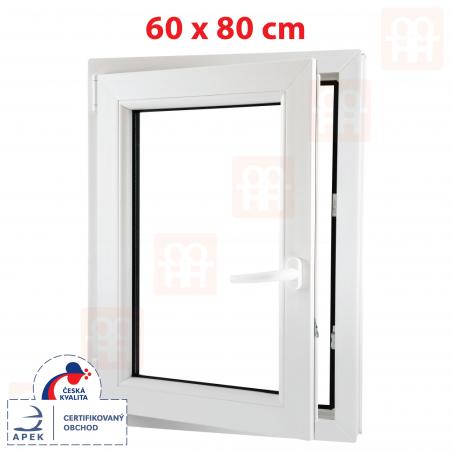Plastové okno | 60x80 cm (600x800 mm) | bílé | otevíravé i sklopné | levé | 6 komor