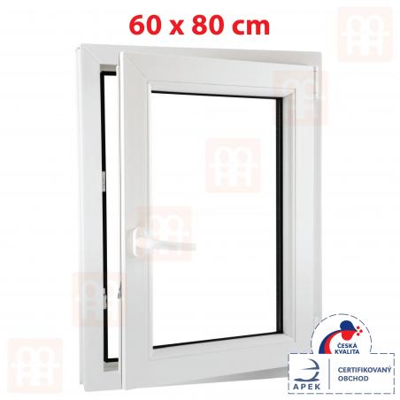 Plastové okno | 60 x 80 cm (600 x 800 mm) | bílé | otevíravé i sklopné | pravé | 6 komor