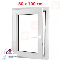 Plastové okno 800 x 1000 mm, bílé, otevíravé i sklopné, levé, 6 komor Aluplast