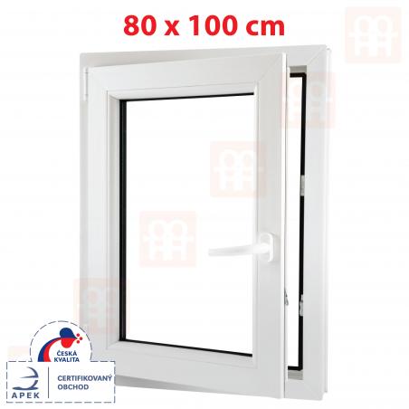 Plastové okno | 80x100 cm (800x1000 mm) | bílé | otevíravé i sklopné | levé | 6 komor