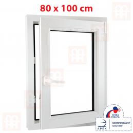 Plastové okno 80 x 100 cm, bílé, otevíravé i sklopné, pravé, 6 komor Aluplast