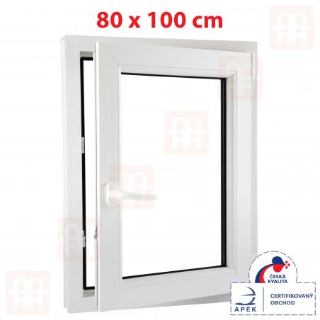 Plastové okno | 80 x 100 cm (800 x 1000 mm) | bílé | otevíravé i sklopné | pravé | 6 komor