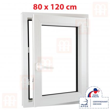 Plastové okno | 80 x 120 cm (800 x 1200 mm) | bílé | otevíravé i sklopné | pravé | 6 komor