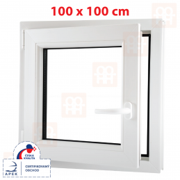 Plastové okno 1000 x 1000 mm, bílé, otevíravé i sklopné, levé, 6 komor Aluplast