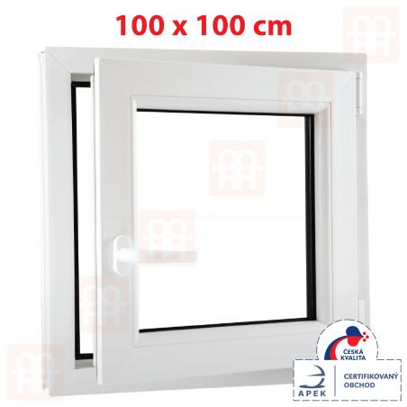Plastové okno | 100 x 100 cm (1000 x 1000 mm) | bílé | otevíravé i sklopné | pravé | 6 komor
