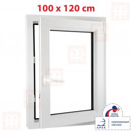 Plastové okno 100 x 120 cm, bílé, otevíravé i sklopné, pravé, 6 komor Aluplast