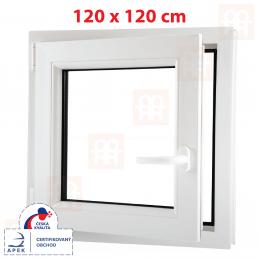 Plastové okno 120x120 cm, bílé, otevíravé i sklopné, levé, 6 komor Aluplast