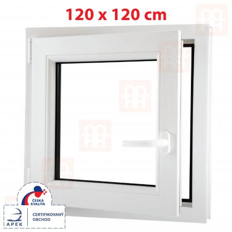 Plastové okno | 120x120 cm (1200x1200 mm) | bílé | otevíravé i sklopné | levé | 6 komor