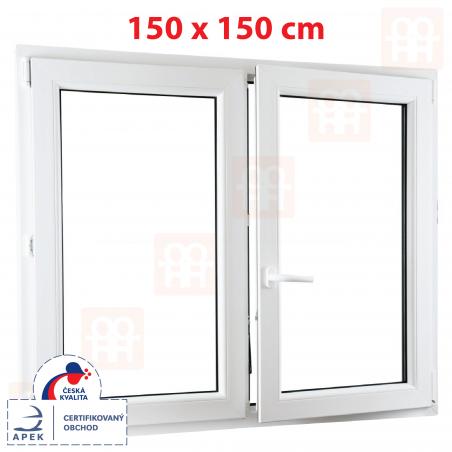 Plastové okno   150x150 cm (1500x1500 mm)   bílé   dvoukřídlé bez sloupku (štulp)   pravé   6 komor