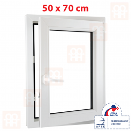 Plastové okno 50 x 70 cm, bílé, otevíravé i sklopné, pravé, 6 komor Aluplast