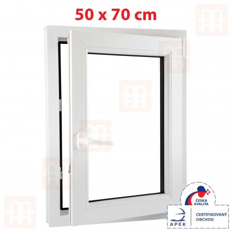 Plastové okno | 50 x 70 cm (500 x 700 mm) | bílé | otevíravé i sklopné | pravé | 6 komor