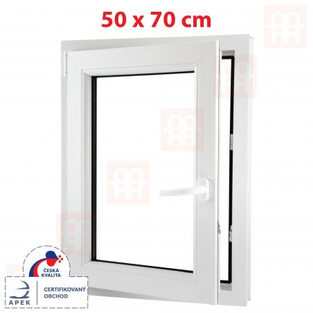 Plastové okno | 50x70 cm (500x700 mm) | bílé | otevíravé i sklopné | levé | 6 komor
