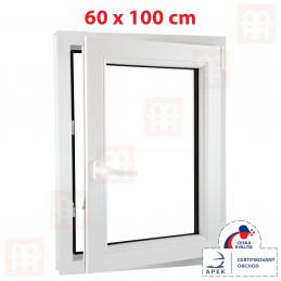 Plastové okno 60 x 100 cm, bílé, otevíravé i sklopné, pravé, 6 komor Aluplast