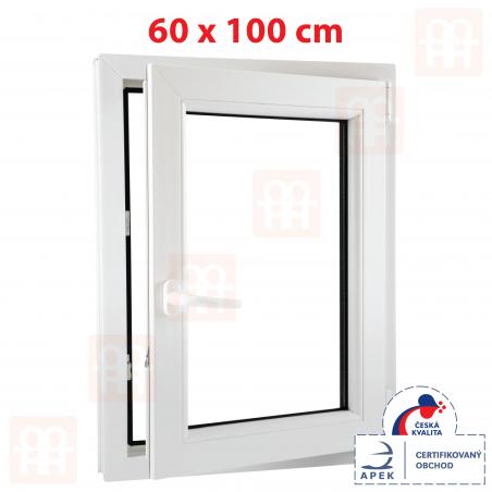 Plastové okno | 60 x 100 cm (600 x 1000 mm) | bílé | otevíravé i sklopné | pravé | 6 komor