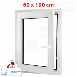 Plastové okno 600 x 1000 mm, bílé, otevíravé i sklopné, levé, 6 komor Aluplast