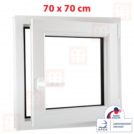 Plastové okno | 70 x 70 cm (700 x 700 mm) | bílé | otevíravé i sklopné | pravé | 6 komor