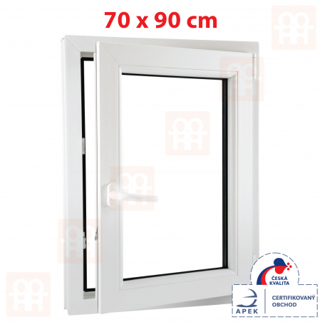 Plastové okno | 70 x 90 cm (700 x 900 mm) | bílé | otevíravé i sklopné | pravé | 6 komor