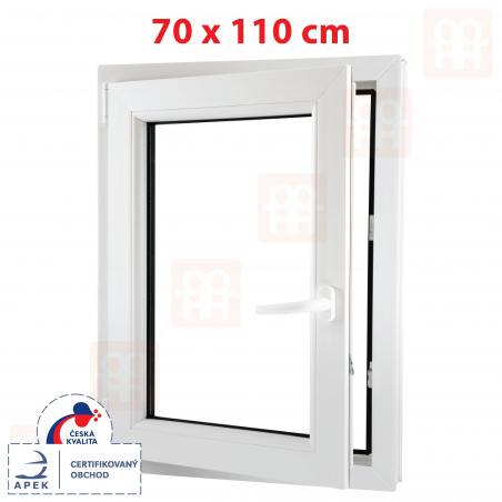 Plastové okno | 70x110 cm (700x1100 mm) | bílé | otevíravé i sklopné | levé | 6 komor