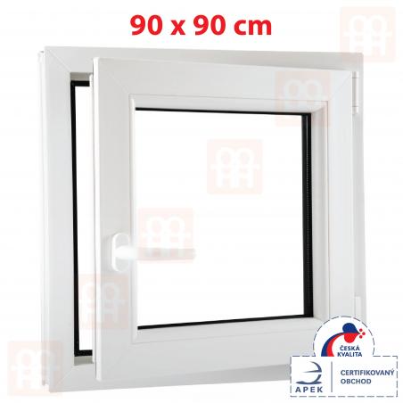 Plastové okno | 90 x 90 cm (900 x 900 mm) | bílé | otevíravé i sklopné | pravé | 6 komor