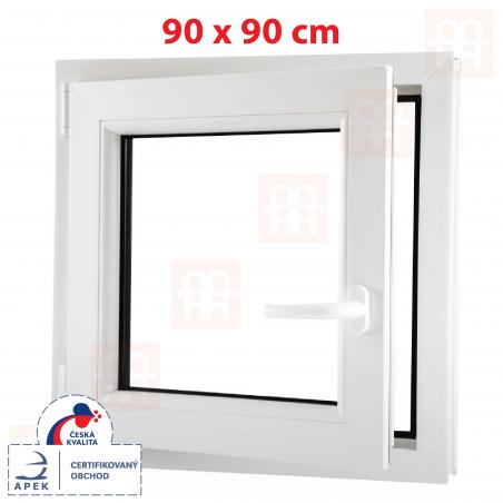 Plastové okno | 90x90 cm (900x900 mm) | bílé | otevíravé i sklopné | levé | 6 komor