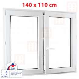 Dvoukřídlé plastové okno 1400 x 1100 mm, bílé, bez sloupku (štulp), pravé Aluplast