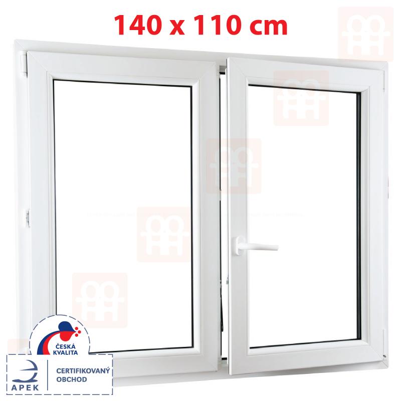 Dvoukřídlé plastové okno 140x110 cm, bílé, bez sloupku (štulp), pravé