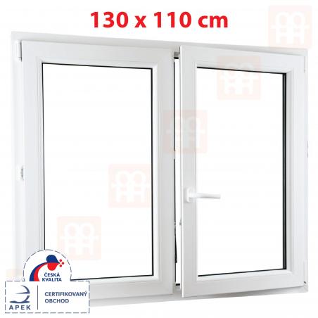 Plastové okno | 130x110 cm (1300x1100 mm) | bílé | dvoukřídlé bez sloupku (štulp) | pravé | 6 komor