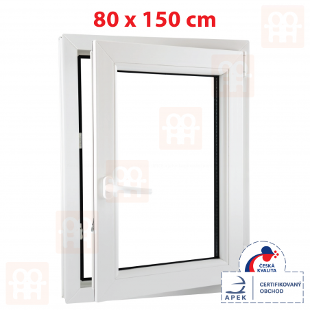 Plastové okno | 80 x 150 cm (800 x 1500 mm) | bílé | otevíravé i sklopné | pravé | 6 komor