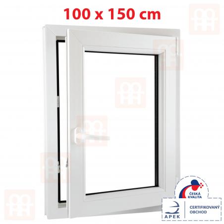 Plastové okno | 100 x 150 cm (1000 x 1500 mm) | bílé | otevíravé i sklopné | pravé | 6 komor