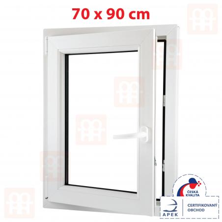 Plastové okno | 70x90 cm (700x900 mm) | bílé | otevíravé i sklopné | levé | 6 komor