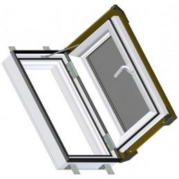 Střešní výlez 55x78 cm plastový, bílý s hnědým oplechováním, SKYLIGHT