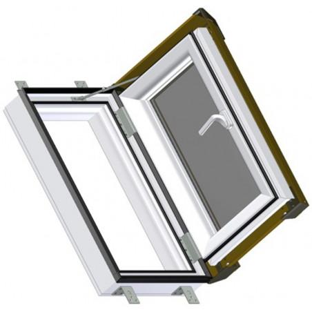 Střešní výlez plastový | 55x78 cm (550x780 mm) | bílý s hnědým oplechováním | SKYLIGHT