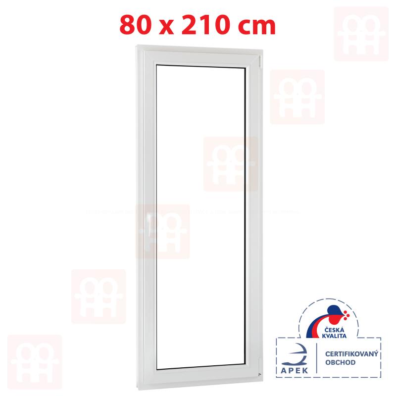 Plastové balkónové dveře 80 x 210 cm, otevíravé i sklopné, pravé