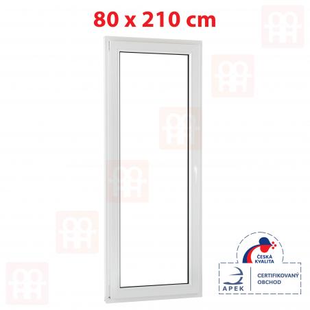Plastové dveře | 80 x 210 cm (800 x 2100 mm) | bílé | balkónové | otevíravé i sklopné | levé | 5 komor