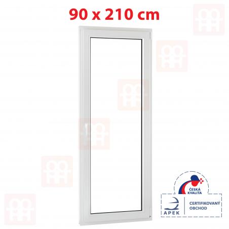 Plastové dveře | 90x210 cm (900x2100 mm) | bílé | balkónové | otevíravé i sklopné | pravé | 5 komor