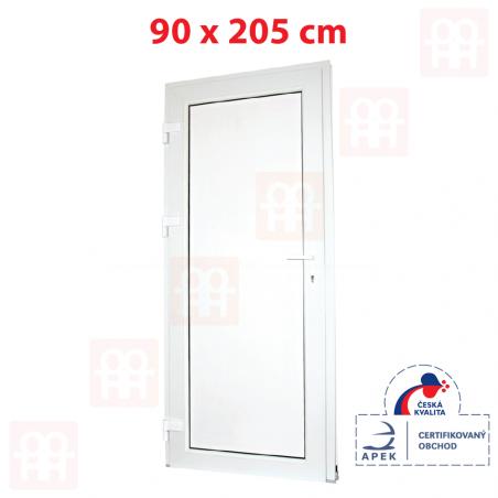 Plastové dveře | 90 x 205 cm (900 x 2050 mm) | bílé | plné | levé