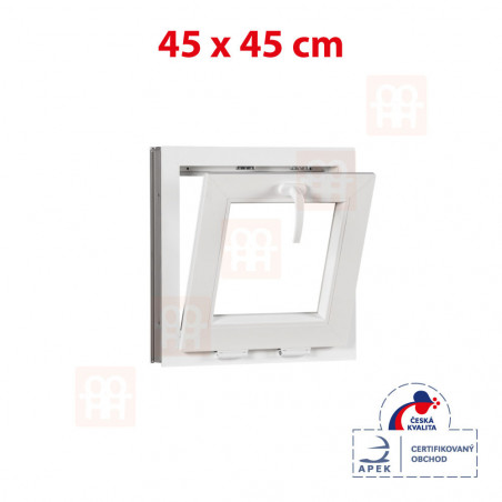 Plastové okno | 45x45 cm (450x450 mm) | bílé | sklopné
