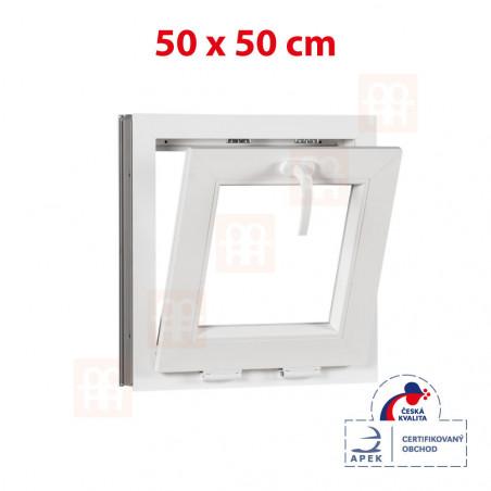 Plastové okno | 50x50 cm (500x500 mm) | bílé | sklopné